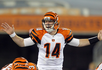 NASHVILLE, TN - NOVEMBER 06:  Andy Dalton #14 of the Cincinnati Bengals gives instructions to his team during the NFL game against the Tennessee Titans at LP Field on November 6, 2011 in Nashville, Tennessee.  The Bengals won 24-17.  (Photo by Andy Lyons/