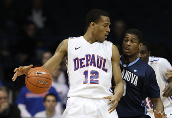 ROSEMONT, IL - FEBRUARY 19: Cleveland Melvin #12 of the DePaul Blue Demons moves against Antonio Pena #0 the Villanova Wildcats at the Allstate Arena on February 19, 2011 in Rosemont, Illinois. Villanova defeated DePaul 77-75 in overtime.  (Photo by Jonat