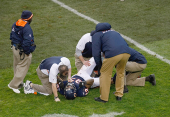 CHICAGO, IL - DECEMBER 4: Matt Forte #22 of the Chicago Bears lays on the field after being injured on a hit by Derrick Johnson #56 of the Kansas City Chiefs at Soldier Field on December 4, 2011 in Chicago, Illinois. (Photo by Scott Boehm/Getty Images)