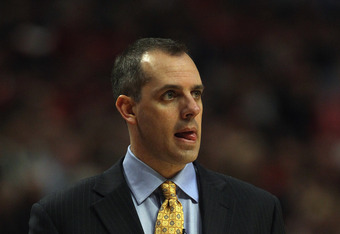 CHICAGO, IL - APRIL 26: Head coach Frank Vogel of the Indiana Pacers watches as his team takes on the Chicago Bulls in Game Five of the Eastern Conference Quarterfinals in the 2011 NBA Playoffs at the United Center on April 26, 2011 in Chicago, Illinois.