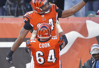 CINCINNATI, OH - DECEMBER 24: Jermaine Gresham #84 of the Cincinnati Bengals celebrates after making an 11-yard touchdown reception in the first quarter against the Arizona Cardinals at Paul Brown Stadium on December 24, 2011 in Cincinnati, Ohio. The Beng