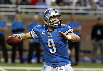 DETROIT, MI - DECEMBER 24:  Matthew Stafford #9 of the Detroit Lions drops back for a pass during a NFL game against the San Diego Chargers at Ford Field on December 24, 2011 in Detroit, Michigan.  (Photo by Dave Reginek/Getty Images)