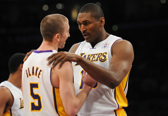 With the addition of World Peace to the Lakers' second unit, Steve Blake is all smiles.