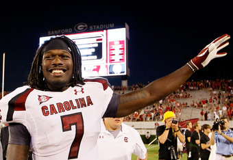 ATHENS, GA - SEPTEMBER 10:  Jadeveon Clowney #7 of the South Carolina Gamecocks celebrates their 45-42 win over the Georgia Bulldogs at Sanford Stadium on September 10, 2011 in Athens, Georgia.  (Photo by Kevin C. Cox/Getty Images)