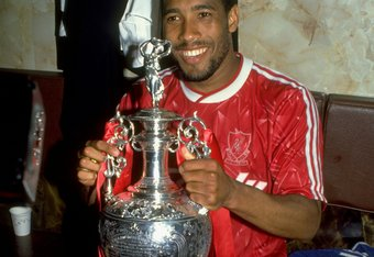 1 May 1990:  John Barnes of Liverpool celebrates after the Barclays League Division One match against Derby County at Anfield in Liverpool, England. Liverpool won the match 1-0 and became league champions. \ Mandatory Credit: Dan Smith /Allsport