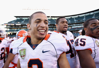 SAN FRANCISCO, CA - DECEMBER 31:  Nathan Scheelhaase #2 of the Illinois Fighting Illini smiles after they beat the UCLA Bruins in the Kraft Fight Hunger Bowl at AT&T Park on December 31, 2011 in San Francisco, California.  (Photo by Ezra Shaw/Getty Images