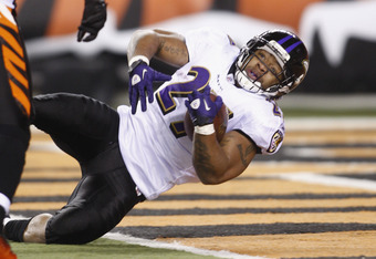CINCINNATI, OH - JANUARY 01:  Ray Rice #27 of the Baltimore Ravens crosses the goal line for a second half touchdown during the game against the Cincinnati Bengals at Paul Brown Stadium on January 1, 2012 in Cincinnati, Ohio.  The Ravens defeated the Beng