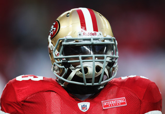 LONDON, ENGLAND - OCTOBER 31:  NaVorro Bowman #53 of San Francisco 49ers looks on prior to the NFL International Series match between Denver Broncos and San Francisco 49ers at Wembley Stadium on October 31, 2010 in London, England. This is the fourth occa