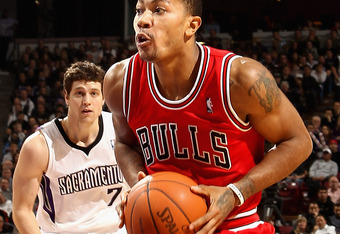 SACRAMENTO, CA - DECEMBER 29:  Derrick Rose #1 of the Chicago Bulls in action against the Sacramento Kings at Power Balance Pavilion on December 29, 2011 in Sacramento, California. NOTE TO USER: User expressly acknowledges and agrees that, by downloading