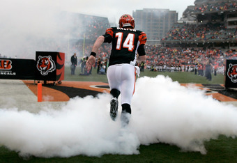 CINCINNATI, OH - NOVEMBER 27:  Andy Dalton #14 of the Cincinnati Bengals takes the field for the game against the Cleveland Browns at Paul Brown Stadium on November 27, 2011 in Cincinnati, Ohio.  The Bengals defeated the Browns 23-20.  (Photo by John Grie