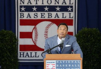 COOPERSTOWN, NY - JULY 24:  Roberto Alomar gives his speech at Clark Sports Center during the Baseball Hall of Fame induction ceremony on July 24, 2011 in Cooperstown, New York. In 17 major league seasons, Alomar tallied 2,724 hits, 210 home runs, 1,134 R