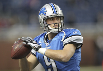 DETROIT, MI - NOVEMBER 20: Matthew Stafford #9 of the Detroit Lions warms up prior to the start of the game against the Carolina Panthers at Ford Field on November 20, 2011 in Detroit, Michigan.  (Photo by Leon Halip/Getty Images)