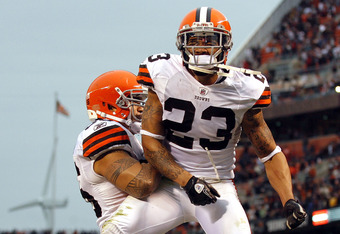 CLEVELAND, OH - NOVEMBER 20:  Defensive back Joe Haden #23 of the Cleveland Browns celebrates with Kaluka Maiava #56 after their 14-10 victory over the Jacksonville Jaguars at Cleveland Browns Stadium on November 20, 2011 in Cleveland, Ohio.  (Photo by Ma