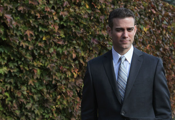 CHICAGO, IL - OCTOBER 25:  Theo Epstein, the new President of Baseball Operations for the Chicago Cubs, poses in the outfield following a press conference at Wrigley Field on October 25, 2011 in Chicago, Illinois.  (Photo by Jonathan Daniel/Getty Images)