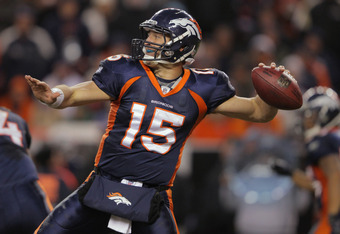 DENVER, CO - JANUARY 01:  Quarterback Tim Tebow #15 of the Denver Broncos delivers a pass against the Kansas City Chiefs at Sports Authority Field at Mile High on January 1, 2012 in Denver, Colorado. The Chiefs defeated the Broncos 7-3.  (Photo by Doug Pe