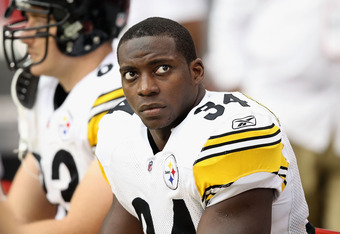 Rashard Mendenhall will only be able to watch as the Steelers play an AFC wild-card game Sunday in Denver.