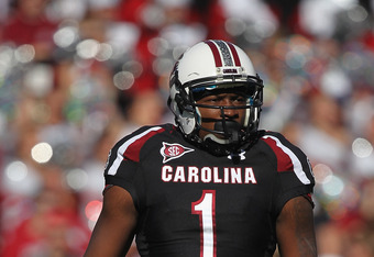 COLUMBIA, SC - OCTOBER 01:  Alshon Jeffery #1 of the South Carolina Gamecocks against the Auburn Tigers during their game at Williams-Brice Stadium on October 1, 2011 in Columbia, South Carolina.  (Photo by Streeter Lecka/Getty Images)