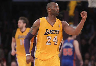 LOS ANGELES, CA - DECEMBER 29:  Kobe Bryant #24 of the Los Angeles Lakers celebrates in the second half against the New York Knicks at Staples Center on December 29, 2011 in Los Angeles, California. The Lakers defeated the Knicks 99-82. NOTE TO USER: User
