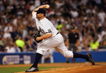 NEW YORK - OCTOBER 07: Starting pitcher Roger Clemens #22 of the New York Yankees deals against the Cleveland Indians during Game Three of the American League Division Series at Yankee Stadium on October 7, 2007 in the Bronx borough of New York City.  (Ph