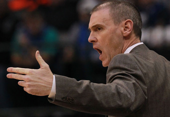 DALLAS, TX - JANUARY 04:  Head coach Rick Carlisle of the Dallas Mavericks at American Airlines Center on January 4, 2012 in Dallas, Texas.  NOTE TO USER: User expressly acknowledges and agrees that, by downloading and/or using this Photograph, user is co