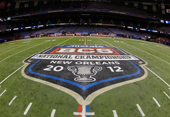 NEW ORLEANS, LA - JANUARY 09:  The Allstate BCS National Championship Game logo is seen painted on the field before the 2012 Allstate BCS National Championship Game between the Louisiana State University Tigers and the Alabama Crimson Tide at Mercedes-Ben