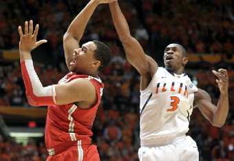 Paul swats the ball away from Sullinger to keep the Illini lead at 74-70