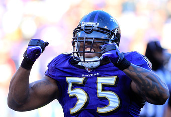 BALTIMORE, MD - JANUARY 15:  Terrell Suggs #55 of the Baltimore Ravens reacts during the third quarter of the AFC Divisional playoff game against the Houston Texans at M&T Bank Stadium on January 15, 2012 in Baltimore, Maryland.  (Photo by Chris Trotman/G