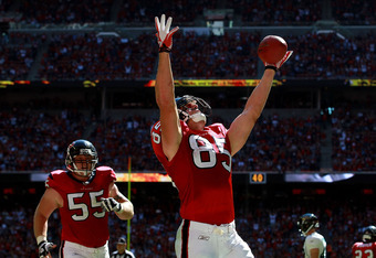 HOUSTON, TX - OCTOBER 30:  Joel Dreessen #85 of the Houston Texans celebrates his touchdown against the Jacksonville Jaguars at Reliant Stadium on October 30, 2011 in Houston, Texas.  (Photo by Ronald Martinez/Getty Images)