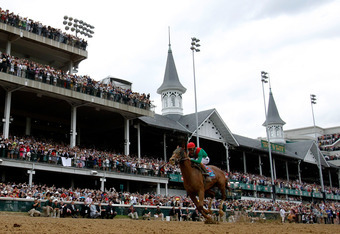 Animal Kingdom crosses the wire first in last year's Kentucky Derby wearing the colors of Team Valor.