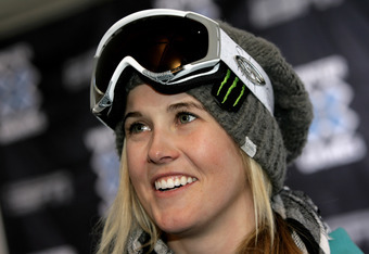 ASPEN, CO - JANUARY 21:  Skier Sarah Burke of Canada talks to the media on the eve of Winter X Games 13 on Buttermilk Mountain on January 21, 2008 in Aspen, Colorado.  (Photo by Doug Pensinger/Getty Images)