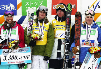INAWASHIRO, JAPAN - FEBRUARY 15:  Ladies' and Men's 1st place, 2nd place and 3rd place winners of Halfpipe Final of 2008 Freestyle FIS World Cup in Inawashiro pose at Alts Bandai on February 15, 2008 in Inawashiro, Fukushima, Japan. From left to right, Ka