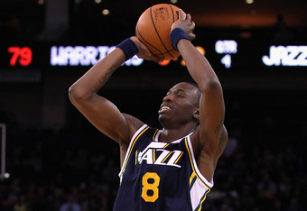 OAKLAND, CA - JANUARY 07:  Josh Howard #8 of the Utah Jazz in action against the Golden State Warriors at Oracle Arena on January 7, 2012 in Oakland, California.  NOTE TO USER: User expressly acknowledges and agrees that, by downloading and or using this