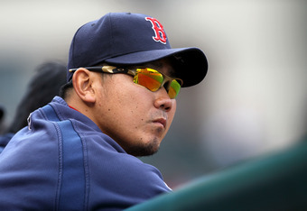 ANAHEIM, CA - APRIL 24:  Pitcher Daisuke Matsuzaka  #28 of the Boston Red Sox watches the game with the Los Angeles Angels of Anaheim on April 24, 2011 at Angel Stadium in Anaheim, California.  The Red Sox won 7-0.  (Photo by Stephen Dunn/Getty Images)
