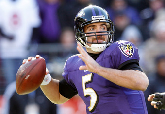 BALTIMORE, MD - JANUARY 15:  Quarterback Joe Flacco #5 of the Baltimore Ravens passes against the Houston Texans during the AFC Divisional playoff game at M&T Bank Stadium on January 15, 2012 in Baltimore, Maryland.  (Photo by Rob Carr/Getty Images)