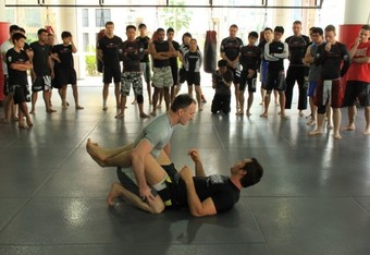 Rich Franklin and Matt Hume giving an MMA seminar for Evolve MMA students