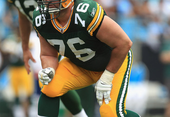 CHARLOTTE, NC - SEPTEMBER 18:   Chad Clifton #76 of the Green Bay Packers during their game against the Carolina Panthers at Bank of America Stadium on September 18, 2011 in Charlotte, North Carolina.  (Photo by Streeter Lecka/Getty Images)