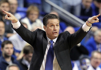 LEXINGTON, KY - JANUARY 21:  John Calipari the head coach of the Kentucky Wildcats gives instructions to his team during the game against the Alabama Crimson Tide at Rupp Arena on January 21, 2012 in Lexington, Kentucky.  (Photo by Andy Lyons/Getty Images