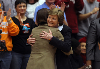 PALO ALTO, CA - DECEMBER 20:  Tennessee Lady Volunteers head coach Pat Summitt hugs Stanford Cardinal head coach Tara VanDerveer before their game at Maples Pavilion on December 20, 2011 in Palo Alto, California.  (Photo by Ezra Shaw/Getty Images)