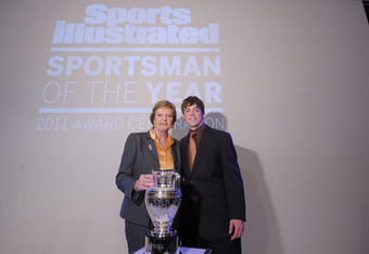 NEW YORK, NY - DECEMBER 06: 2011 Sports Illustrated Sportswoman of the Year, College Basketball coach Pat Summitt (L) and Tyler Summitt attend the 2011 Sports Illustrated Sportsman of the Year award presentation at The IAC Building on December 6, 2011 in