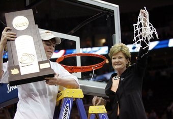 CLEVELAND - APRIL 03:  Head coach Pat Summitt of the Tennessee Lady Volunteers and her son Tyler celebrate after cutting down the net after Tennessee's 59-46 win against the Rutgers Scarlet Knights to win the 2007 NCAA Women's Basketball Championship Game