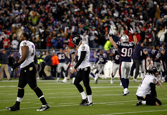 Baltimore Ravens Kicker Billy Cundiff walks off field after game-winning miss