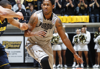 WEST LAFAYETTE, IN - JANUARY 24: Terone Johnson #0 of the Purdue Boilermakers brings the ball up court against the Michigan Wolverines at Mackey Arena on January 24, 2012 in West Lafayette, Indiana. Michigan defeated Purdue 66-64. (Photo by Joe Robbins/Ge