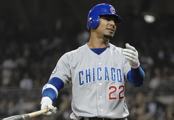 SAN DIEGO, CA - SEPTEMBER 27:  Carlos Pena #22 of the Chicago Cubs reacts after striking out during the first inning of a baseball game against the San Diego Padres at Petco Park on September 27, 2011 in San Diego, California.  (Photo by Denis Poroy/Getty
