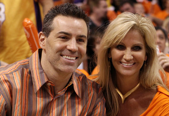 PHOENIX - MAY 23:  Former NFL quarterback Kurt Warner sits with his wife Brenda prior to the Phoenix Suns playing the Los Angeles Lakers in Game Three of the Western Conference Finals during the 2010 NBA Playoffs at US Airways Center on May 23, 2010 in Ph