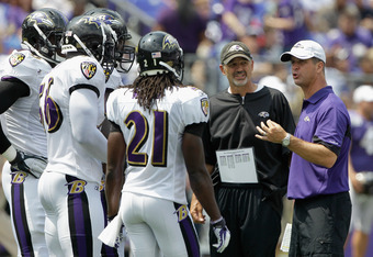 New Indianapolis Colts head coach Chuck Pagano (center) during Baltimore Ravens training camp.