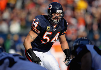 CHICAGO, IL - DECEMBER 18: Brian Urlacher #54 of the Chicago Bears awaits the start of play against the Seattle Seahawks at Soldier Field on December18, 2011 in Chicago, Illinois. The Seahawks defeated the Bears 38-14.  (Photo by Jonathan Daniel/Getty Ima