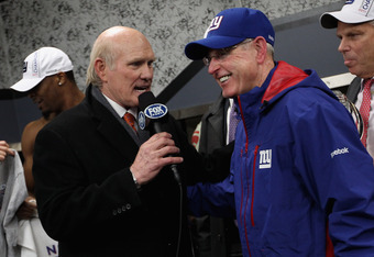 SAN FRANCISCO, CA - JANUARY 22:  Head coach Tom Coughlin (R) of the New York Giants is interviewed by Terry Bradshaw after the Giants won 20-17 in overtime against the San Francisco 49ers during the NFC Championship Game at Candlestick Park on January 22,