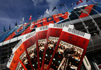MIAMI - FEBRUARY 04:  Tickets for Super Bowl XLIV are shown outside Sun Life Stadium February 4, 2010 in Miami, Florida. The Indianapolis Colts will play the New Orleans Saints in the NFL's championship game Sunday February 7, 2010.  (Photo by Win McNamee