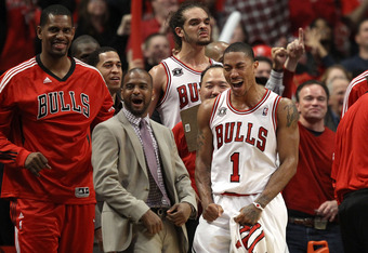 Bulls forward Joakim Noah (back with white jersey) said Rose has emerged as the leader of the team in his brief time in the NBA.
