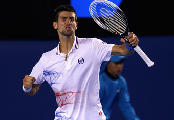 MELBOURNE, AUSTRALIA - JANUARY 27:  Novak Djokovic of Serbia celebrates a point in his semifinal match against Andy Murray of Great Britain during day twelve of the 2012 Australian Open at Melbourne Park on January 27, 2012 in Melbourne, Australia.  (Phot